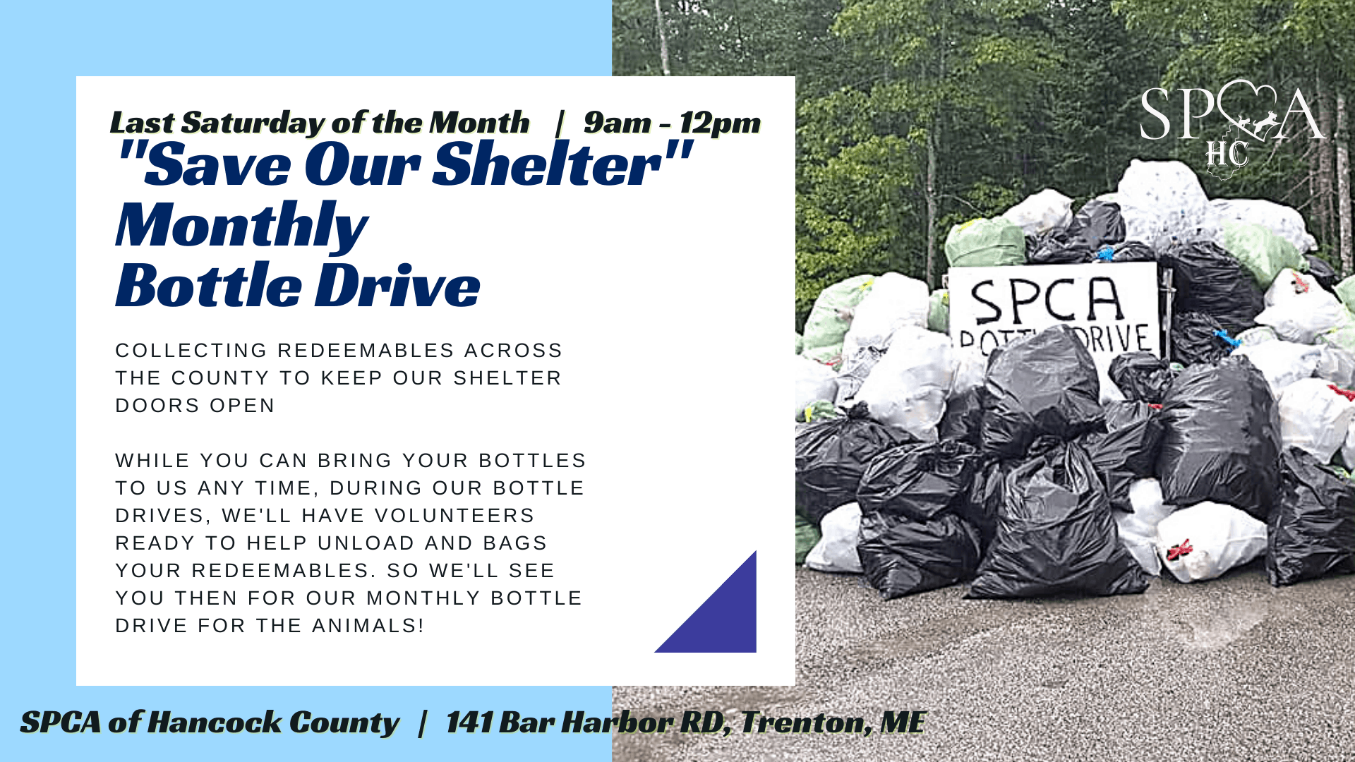 Save Our Shelter Monthly Bottle Drive